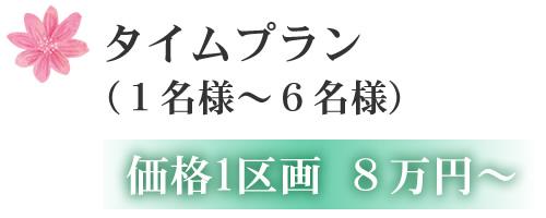 タイムプラン (1名様~6名様) 価格1区画 8万円~